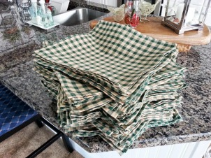 All the 200 napkins I made for the wedding