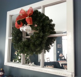 This is my favorite - this window came from the house I grew up in so it has so much meaning and the wreath looks so pretty