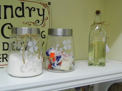 Close up of pretty jars with laundry detergent