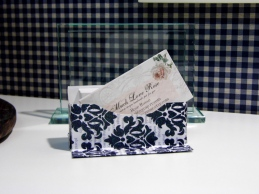 "I made this cute little business card holder - Watched a video on YouTube ""How to make business card holder"""