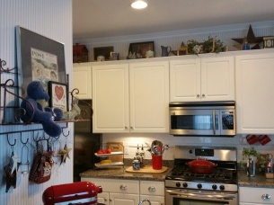 Looking from the Family Room - You can see the special things I put on top of the cabinets