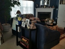 View of the sofa table