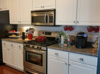 On the opposite wall are the Refrigerator and stove - Good amount of counter space.