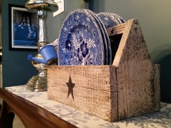 This little tool box came from a shop on Etsy - It is perfect for holding those pretty little plates. If you like this little box you can purchase it at https://www.etsy.com/shop/DedesCountryCrafts