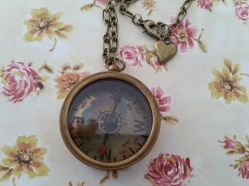 Vintage style Antique Bronze Compass Necklace