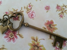 Vintage style Antique Bronze Key Necklace ~