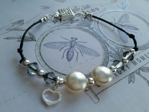 ~ Sweet coin pearl bracelet with swarovski crystals, and sweet heart charm ~
