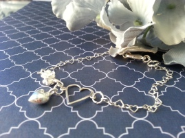 ~ Delicate heart bracelet with puffed heart charm ~