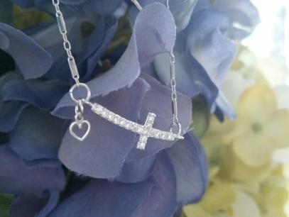 Sterling silver .925 CZ Cross Bracelet ~