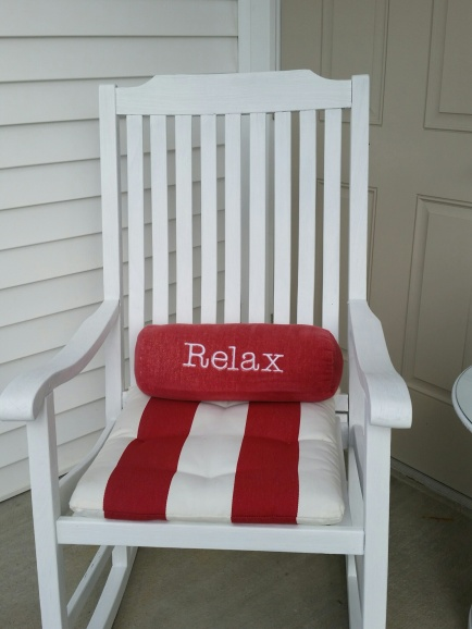 Here is the chair finished with the red & white stripe seat cover & the cute little Relax pillow ~