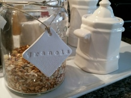 The granola tag ~ You have a better view of the burlap look on the bottom of the tag ~