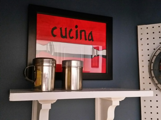 Top shelf ~ My daughter painted the Cucian (Kitchen) in Italian for me ~