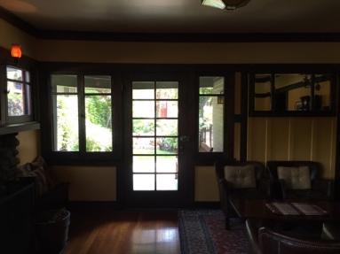 Looking at the front door.